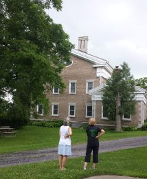 Visitors admire the north facade.