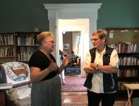 Linda Decker and Jan Carr chat in the library during the fall Open House, 2017.
