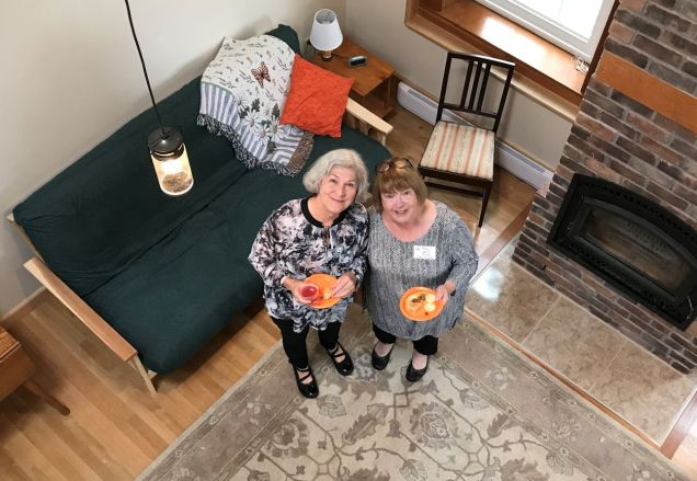 Spence sisters Judy Riley and Peg Parker in the newly completed North Wing; 2017 Open House.