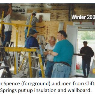 Volunteers from Clifton Springs Men's Group helped with the walls, 2001.